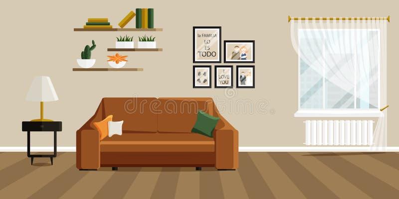 Vektorillustration des Wohnzimmers in der flachen Art stockfoto