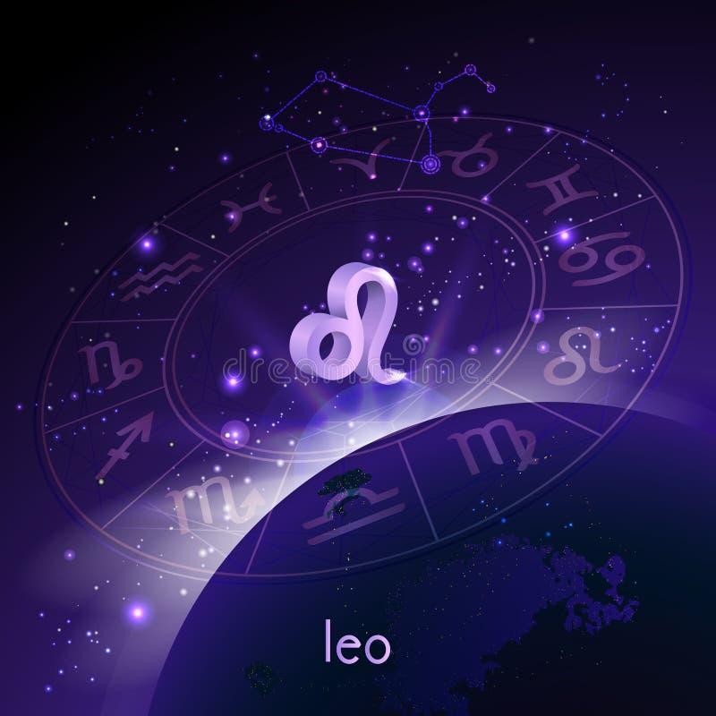 Vektorillustration des Zeichens 3D und der Konstellation LÖWE mit Horoskopkreis in der Perspektive gegen den Raumhintergrund lizenzfreie abbildung