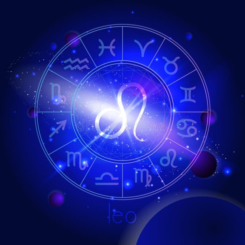 Vektorillustration des Zeichens LÖWE mit Horoskopkreis gegen den Raumhintergrund stock abbildung