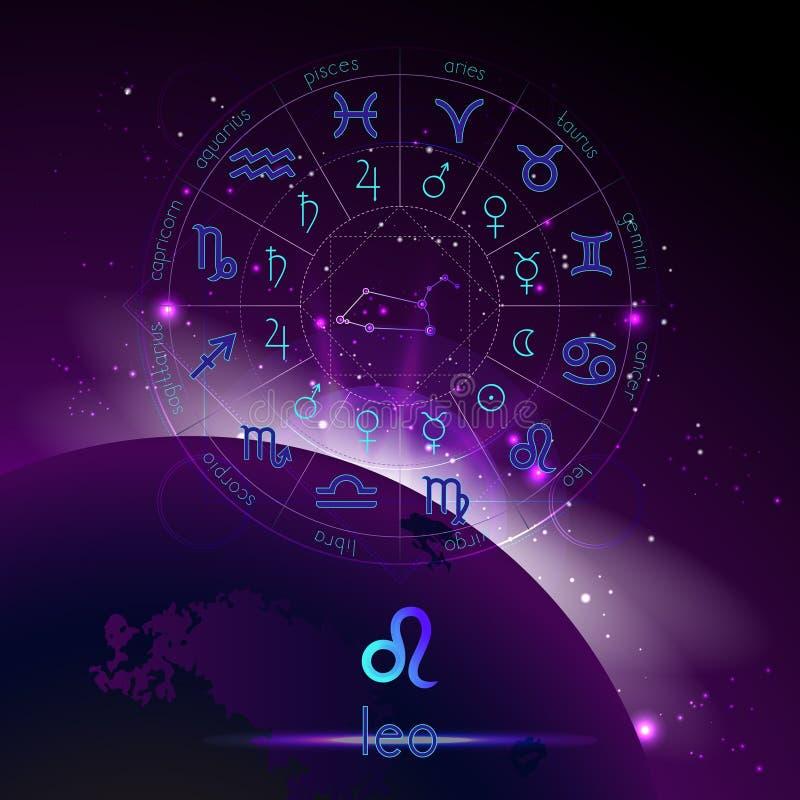 Vektorillustration des Zeichens und der Konstellation LÖWE und Horoskopkreis mit Astrologiepiktogrammen gegen den Raumhintergrund vektor abbildung