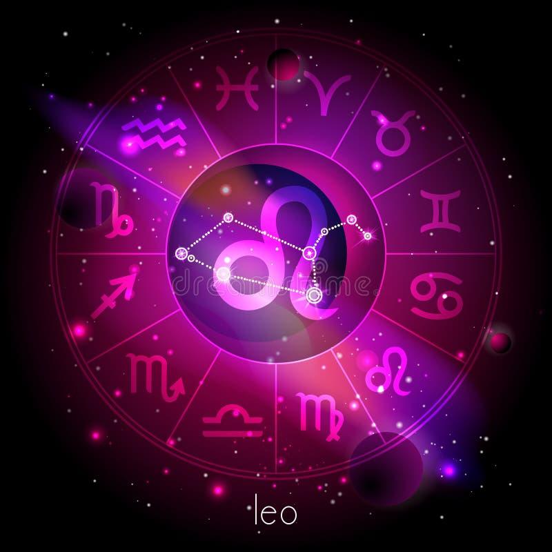 Vektorillustration des Zeichens und der Konstellation LÖWE mit Horoskopkreis gegen den Raumhintergrund stock abbildung