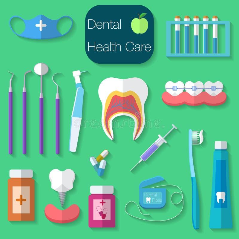 Vektorillustration Design des Zahnpflegen flache mit Zahnseide, Zähne, Mund, Zahnpasta und Bürste, Medizin, Spritze und Zahnarzt vektor abbildung