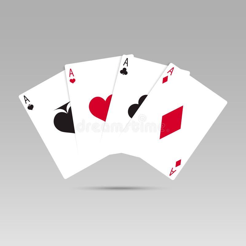 Vektorillustration, die Poker-Karten spielt Vier Spielkarten der Asse stock abbildung