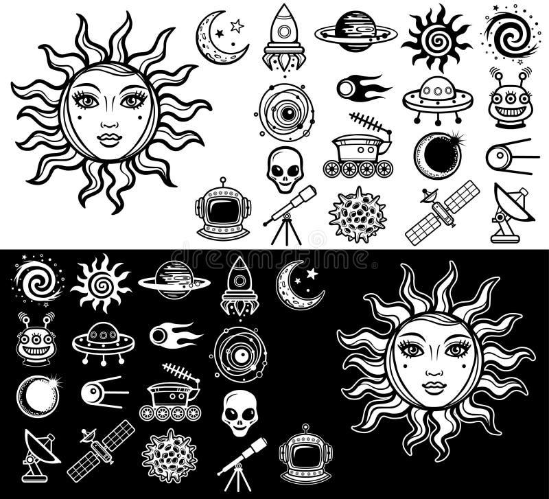 Vektorillustration: die Sonne mit einem Frau ` s menschlichen Gesicht, ein Satz industrielle Ikonen des Raumes lizenzfreie abbildung