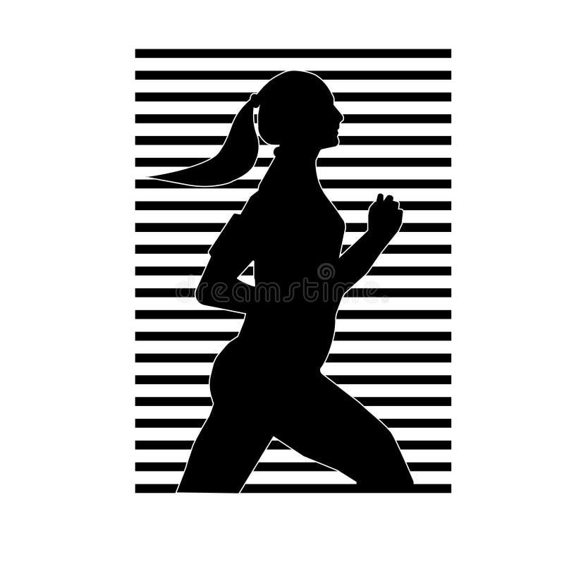Vektorillustration ein Schattenbild des laufenden Mädchens der schwarzen Farbe mit einer weißen Kontur vor dem hintergrund der ge vektor abbildung