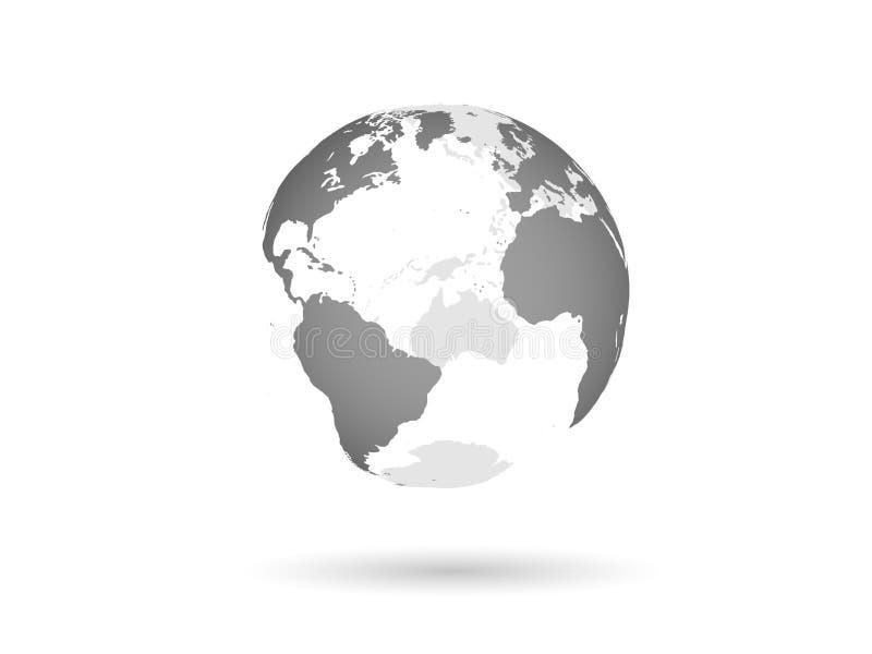 Vektorillustration einer grauen transparenten Erdkugel vektor abbildung