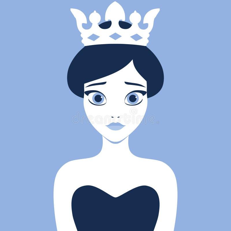 Vektorillustration einer jungen Prinzessin, die eine Krone trägt vektor abbildung