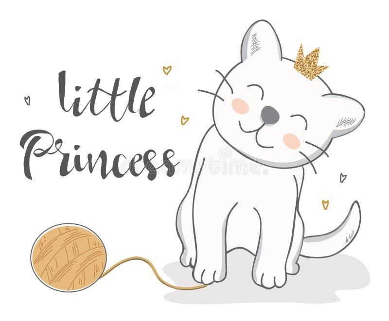 Vektorillustration einer lustigen Katze mit wenig Prinzessinbeschriftung vektor abbildung