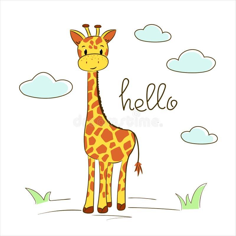 Vektorillustration einer netten Giraffe und hallo Text lizenzfreie abbildung