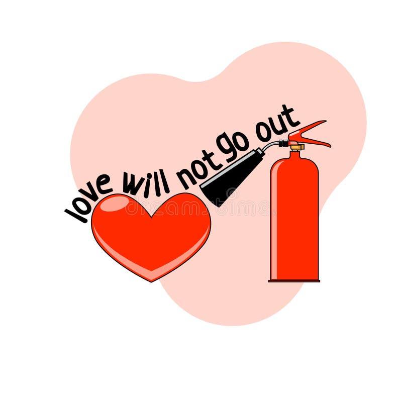 Vektorillustration eines Feuerlöschers und ein Herz auf einem rosa symbolisierenden Hintergrund, dass Liebe nie erlischt vektor abbildung