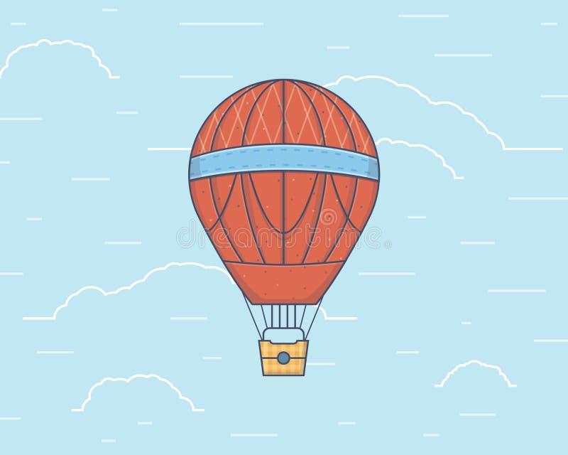 Vektorillustration eines Heißluft baloon reisen lizenzfreie stockbilder