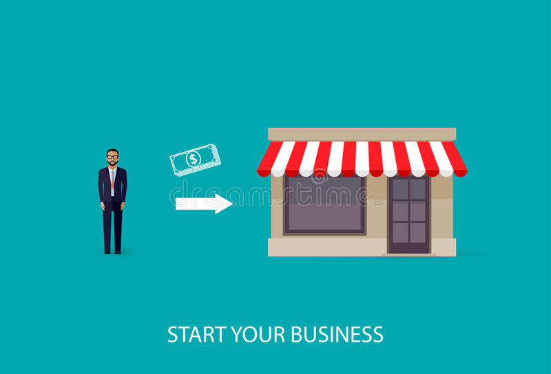 Vektorillustration eines infographic Geschäftskonzeptes Geschäftsmann beginnt sein eigenes Geschäft Startkonzept lizenzfreie abbildung