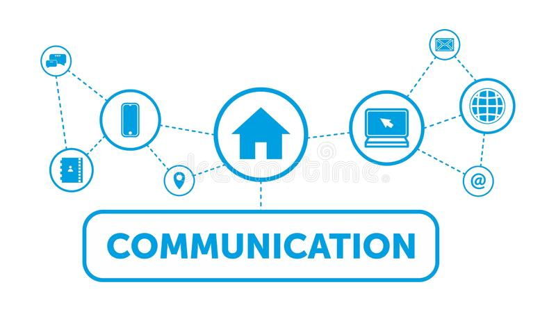 Vektorillustration eines Kommunikationskonzeptes Teil des Miloikonensets HAUS, PC, TELEFON, ONLINE-COMMUNITY stock abbildung