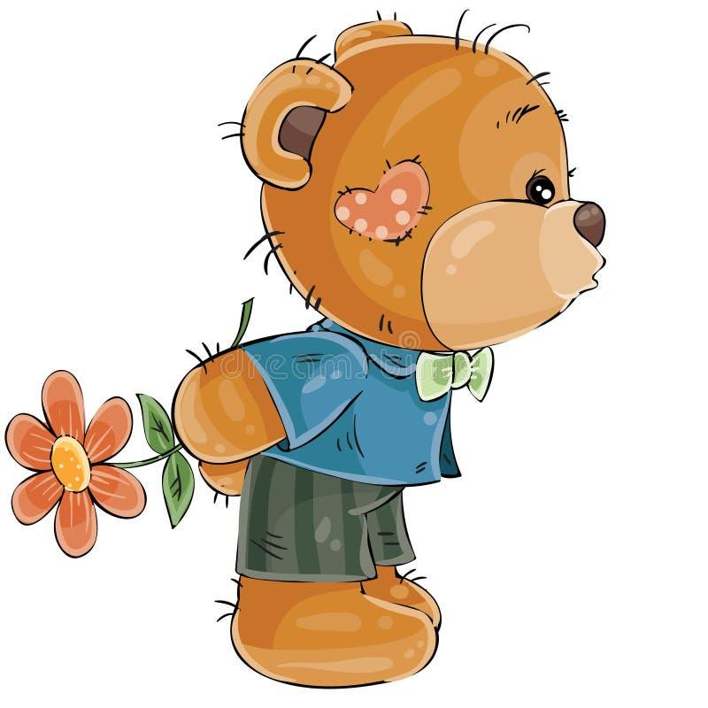 Vektorillustration eines liebevollen braunen Teddybärjungen versteckt sich hinter einer Blume und wird jemand küssen vektor abbildung