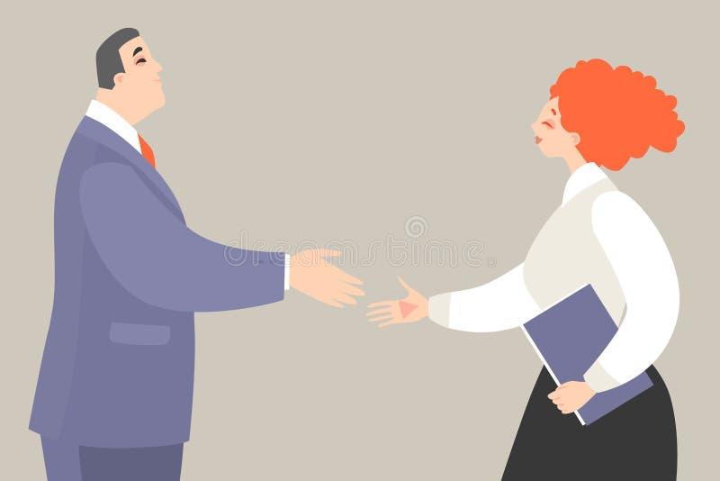 Vektorillustration eines Mannes und der Frau, die fertig wird, Hände bei der Herstellung eines Abkommens zu rütteln vektor abbildung