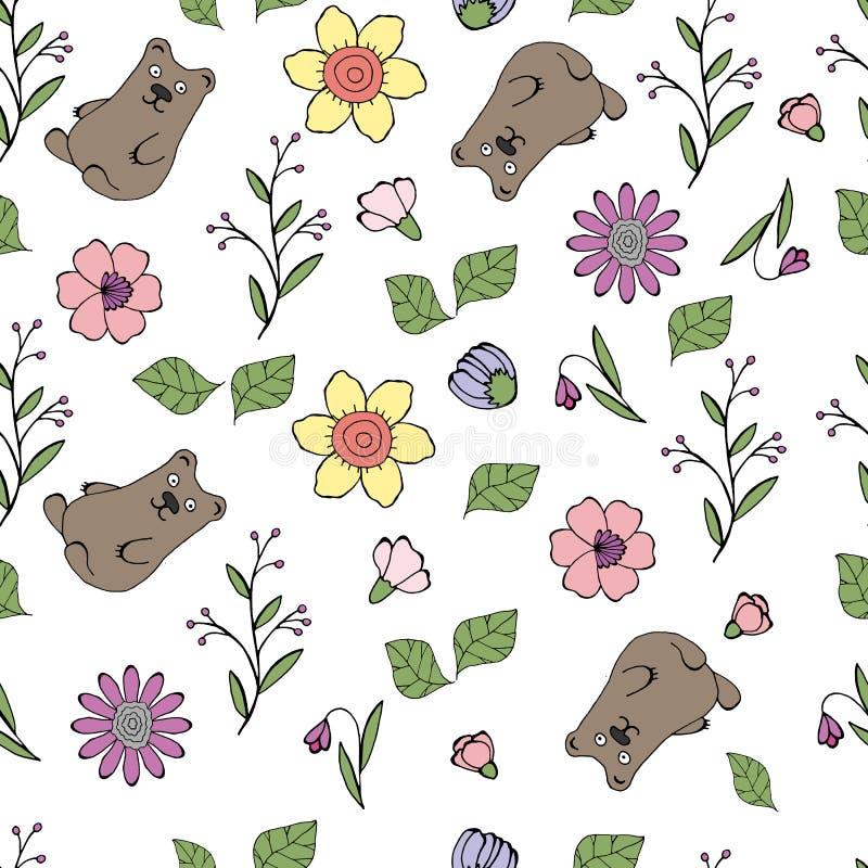 Vektorillustration eines Musters mit Blumen, Blätter, Bären lizenzfreie abbildung