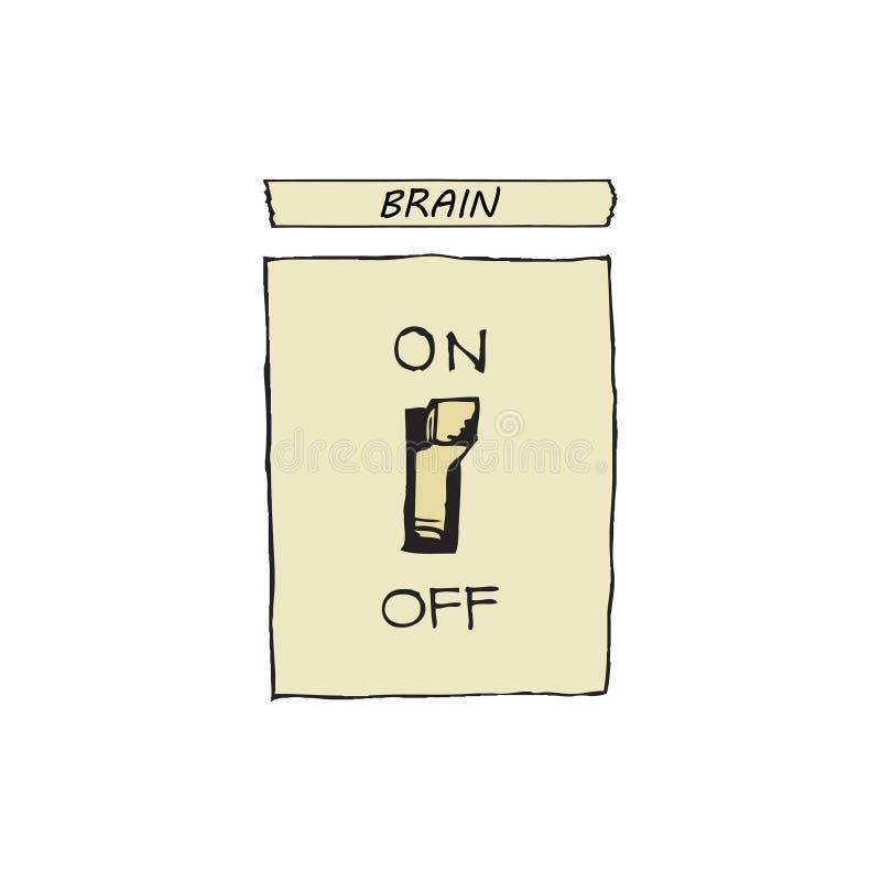 Vektorillustration eines Schalters, der an und die Gehirne abstellt vektor abbildung