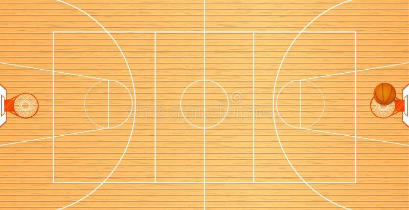Vektorillustration en basketdomstol, bästa sikt, en boll i korgen, turneringområde, lagsport royaltyfri bild