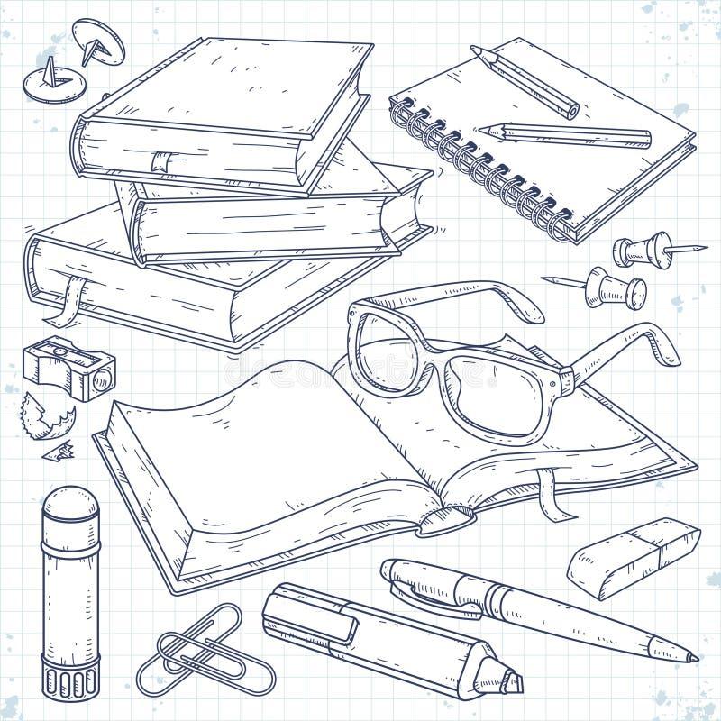 Vektorillustration, en bunt av böcker, en öppen bok med exponeringsglas, en anteckningsbok på en vår, en pennmarkör och en blyert royaltyfri illustrationer