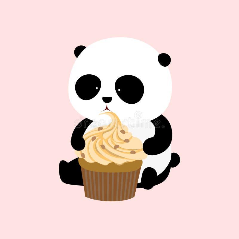 Vektorillustration: En jätte- panda för gullig tecknad film sitter på jordningen, innehav och äter en stor mangoanstrykningmuffin royaltyfri illustrationer