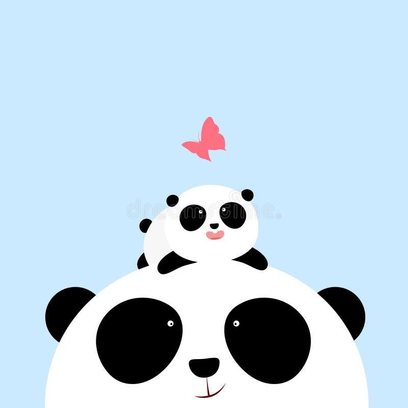 Vektorillustration: En liten panda för gullig tecknad film ligger på huvudet av hans fader/moder som ser en fjäril stock illustrationer