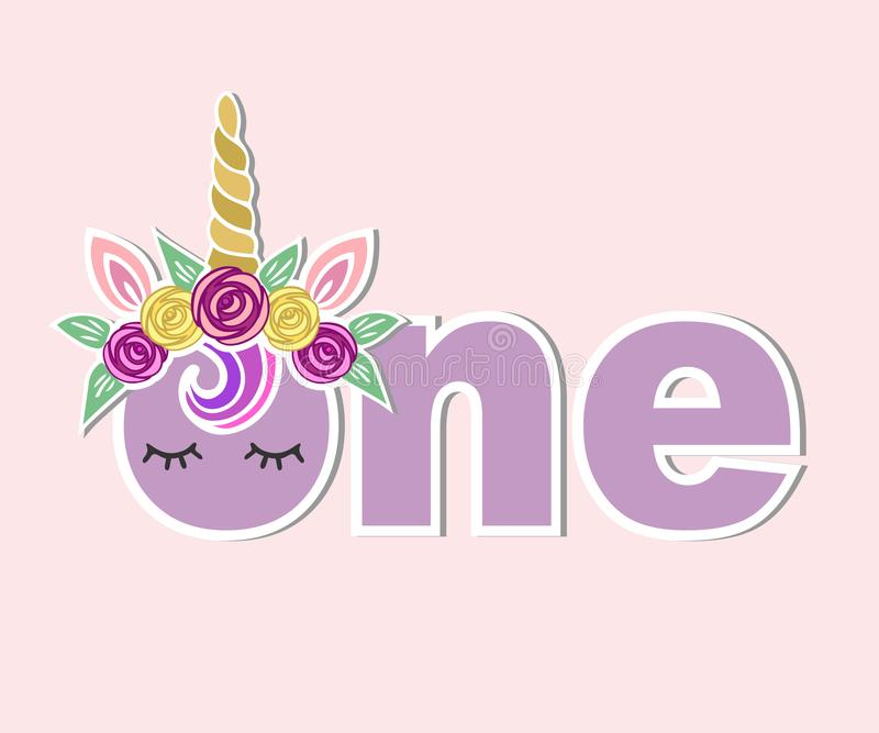 Vektorillustration en med Unicorn Horn, öron, blommakrans vektor illustrationer