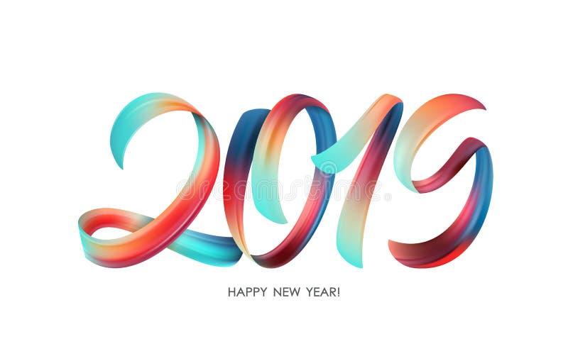 Vektorillustration: Färgrik kalligrafi för penseldragmålarfärgbokstäver av 2019 lyckliga nya år på vit bakgrund arkivbilder