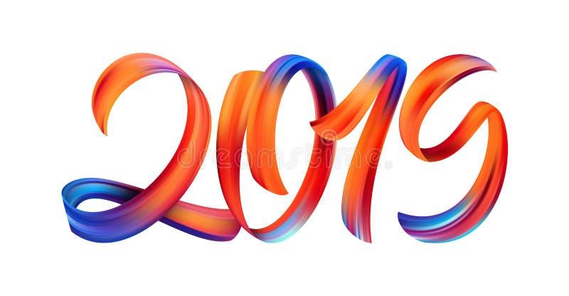 Vektorillustration: Färgrik kalligrafi för penseldragmålarfärgbokstäver av 2019 på vit bakgrund lyckligt nytt år stock illustrationer