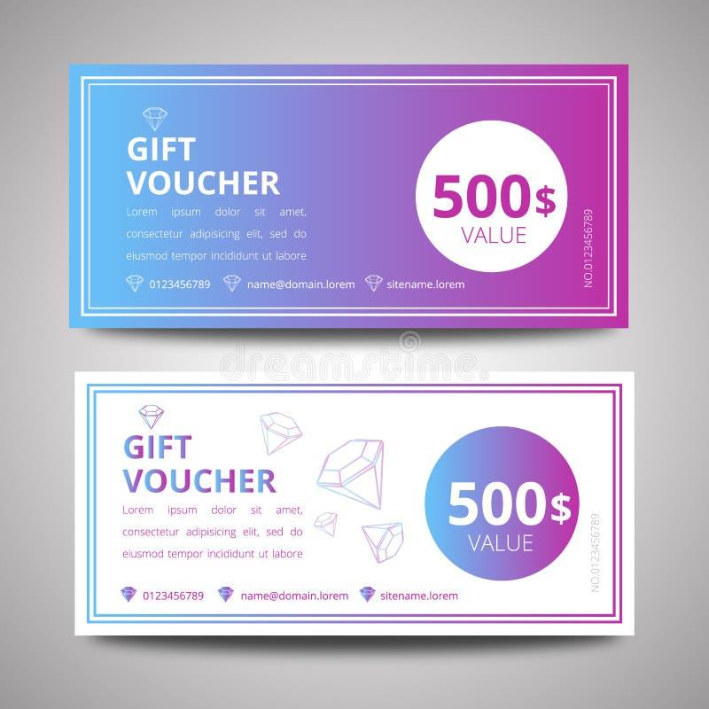 Vektorillustration, färgrik presentkortmall, mall för design för presentkortcertifikatkupong royaltyfri illustrationer