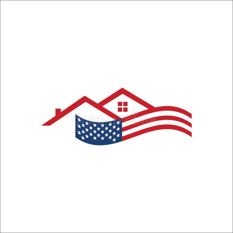 Vektorillustration för amerikansk usflagga och hemmakontoren royaltyfri illustrationer