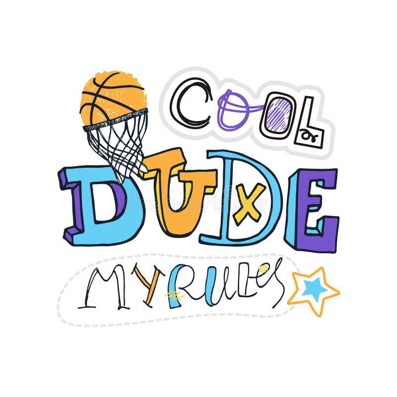 Vektorillustration för basket, kall kille royaltyfri illustrationer