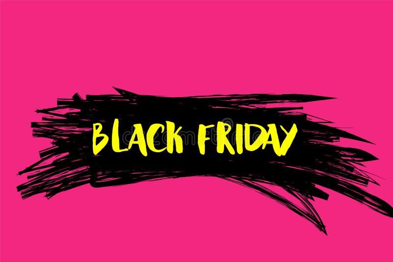 Vektorillustration för Black Friday i grungestil Färgpulverfärgstänkbegrepp Planlägg mallen för affischen, banret, flayer stock illustrationer