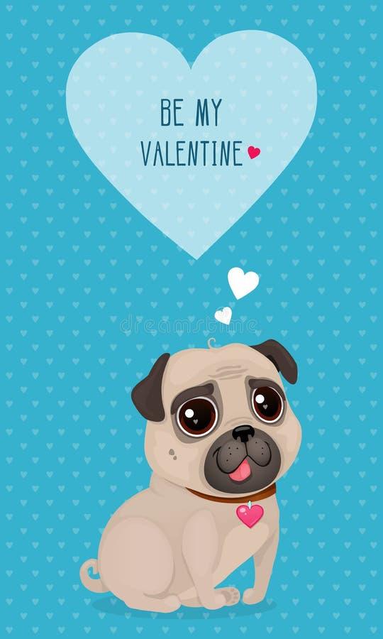 Vektorillustration för dag för valentin` s med en gullig mops och hjärta stock illustrationer