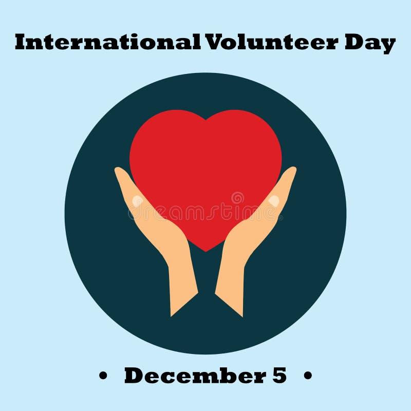 Vektorillustration för den internationella volontärdagen för symbolical symboler för ekonomisk och social utveckling av handen royaltyfri illustrationer