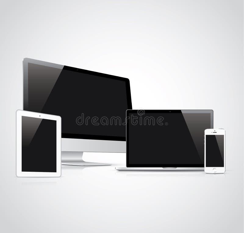 Vektorillustration för elektroniska apparater stock illustrationer