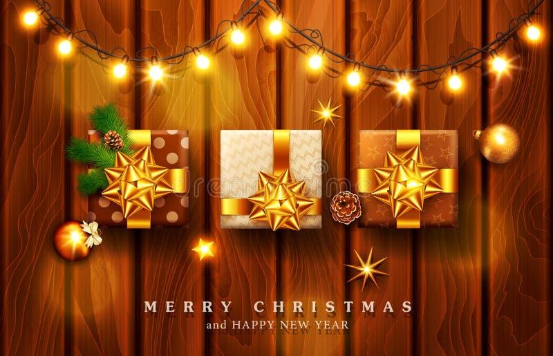 vektorillustration för glad jul och lyckligt nytt år Gre royaltyfri illustrationer
