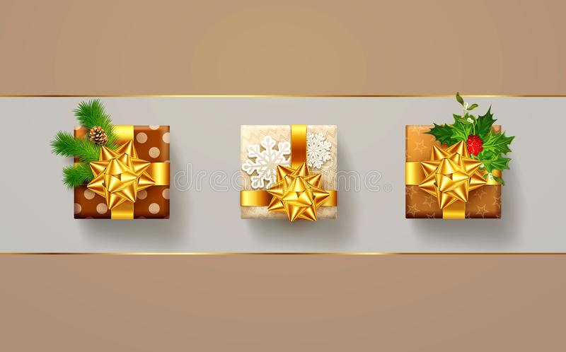 Vektorillustration för jul och nytt år Tre packad gif vektor illustrationer