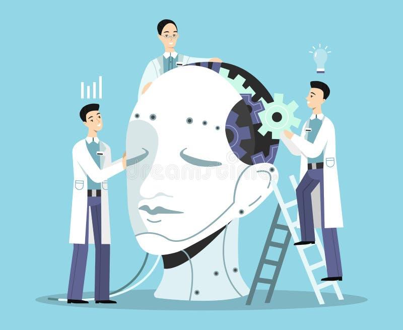 Vektorillustration för konstgjord intelligens stock illustrationer