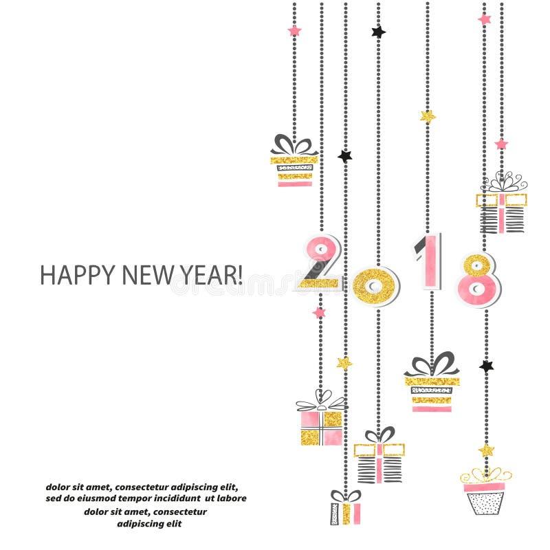 Vektorillustration 2018 för lyckligt nytt år vektor illustrationer