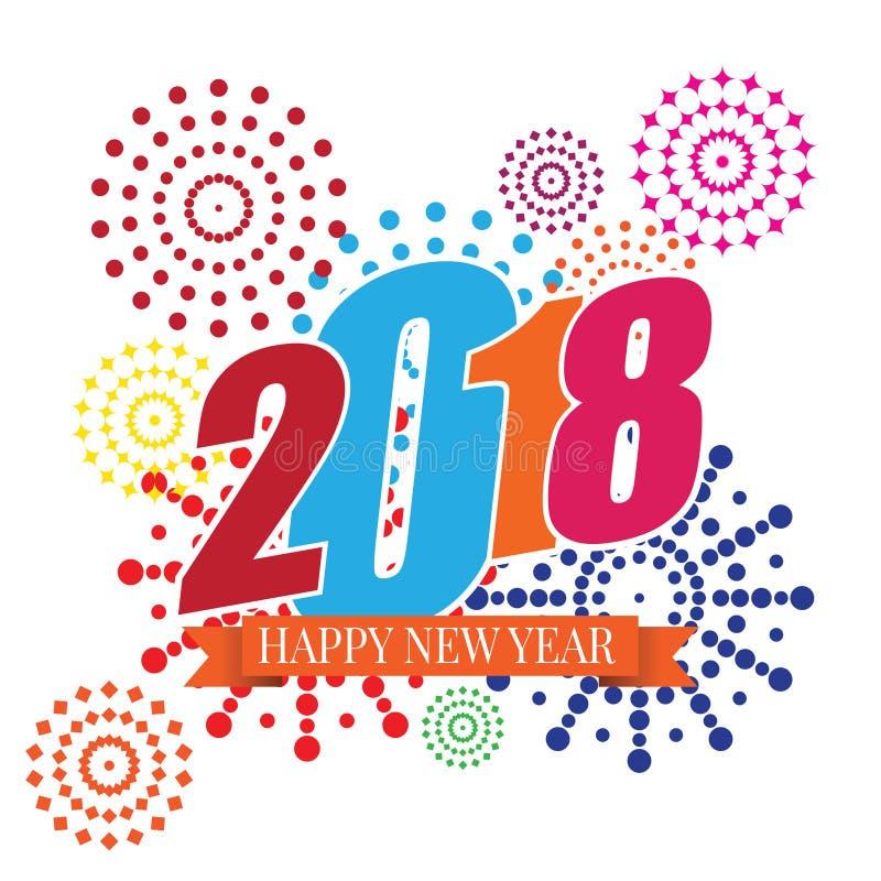 Vektorillustration 2018 för lyckligt nytt år av fyrverkerier stock illustrationer