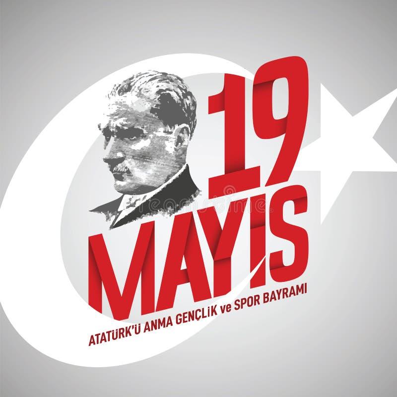 vektorillustration för 19 mayis 19 Maj, åminnelse av den Ataturk, ungdom- och sportdagturken stock illustrationer