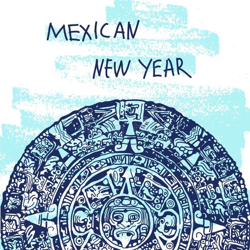 Vektorillustration för nytt år Berömd Landmarck för värld serie: Mexico Mayan kalender, Maya Mexicanskt nytt år royaltyfri illustrationer