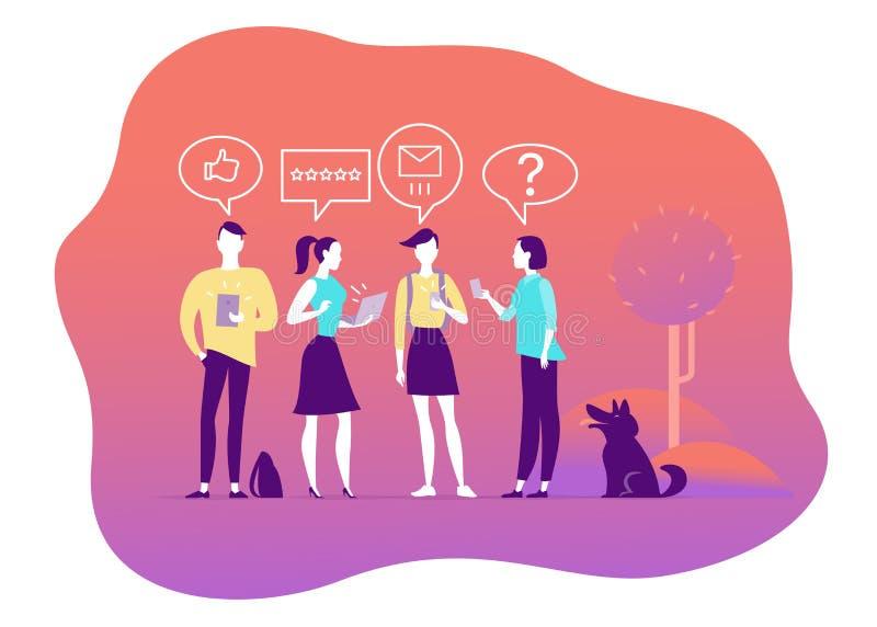 Vektorillustration för online-granskningtema Folk med mobila enheten - bärbara datorn, minnestavlan, smartphone - ge stjärnor som stock illustrationer