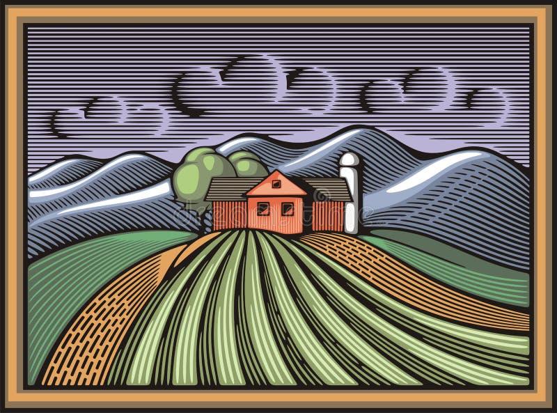 Vektorillustration för organiskt lantbruk i träsnittstil vektor illustrationer