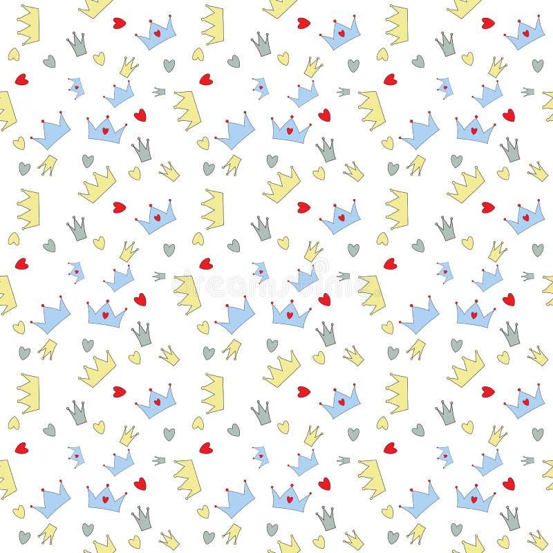 Vektorillustration för prins Seamless Pattern Background stock illustrationer