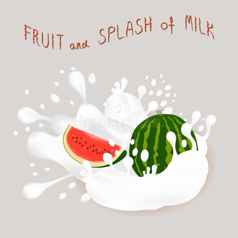 Vektorillustration för röd vattenmelon för mogen frukt stock illustrationer