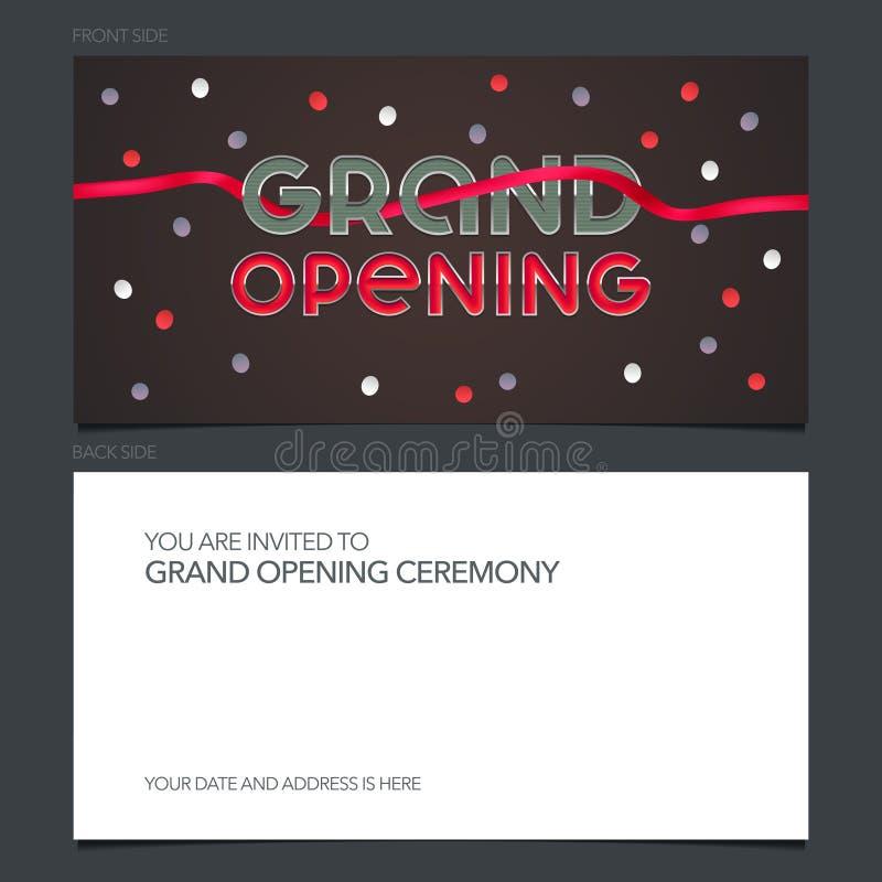 Vektorillustration för storslagen öppning, inbjudankort för nytt lager vektor illustrationer