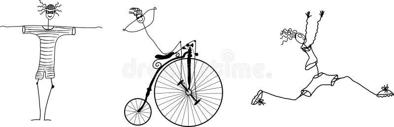 Vektorillustration för triathlon stock illustrationer