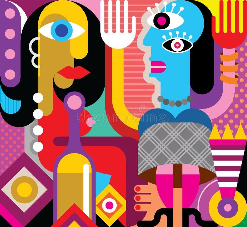 Vektorillustration för två dansa kvinnor stock illustrationer