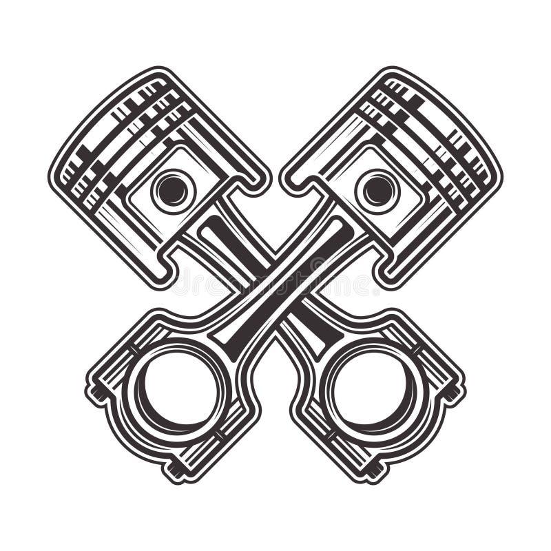 Vektorillustration för två korsad pistonger royaltyfri illustrationer